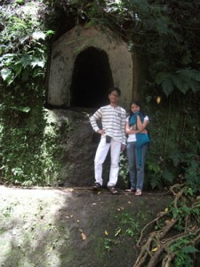 In front of the ventilation of the cave
